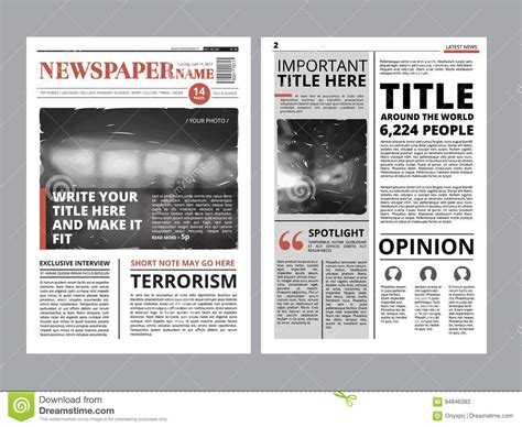 Time Magazine Layout Templates Old by Newspaper Front Page With Several Columns And Photos