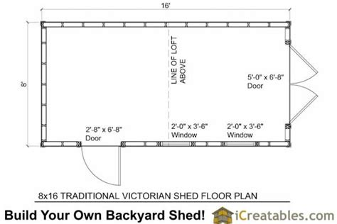 Shed Floor Plans by 8x16 Traditional Backyard Shed Plans