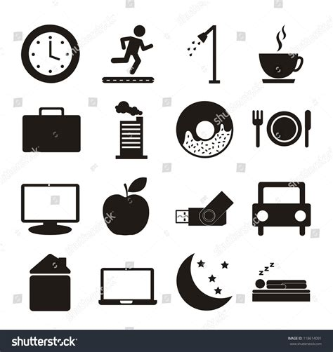 daily routine icons  white background stock vector