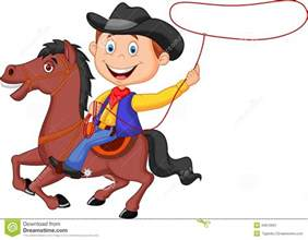 Cartoon Cowboy On Horse Lasso