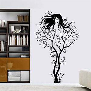 creative sexy girl tree wall sticker sticker removable With nice removable wall decals for girls rooms