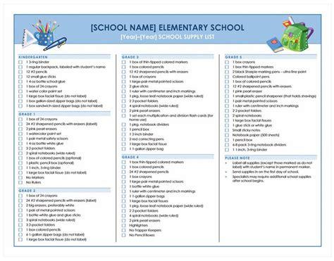school supplies checklist school supplies list