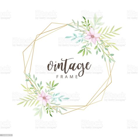 Watercolor Floral Vintage Frame With Gold Border Stock
