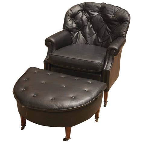 Chair And Ottoman Set Sale by Black Leather Chesterfield Club Chair And Ottoman For Sale