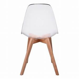 Lot de 2 Chaises Design Scandinaves pas cher pieds bois transparent