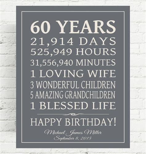 60th Birthday Gift Sign Dad Mom By