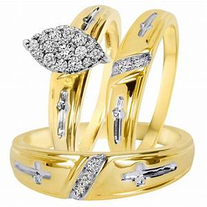 1 4 ct tw diamond trio matching wedding ring set 10k With matching trio wedding rings