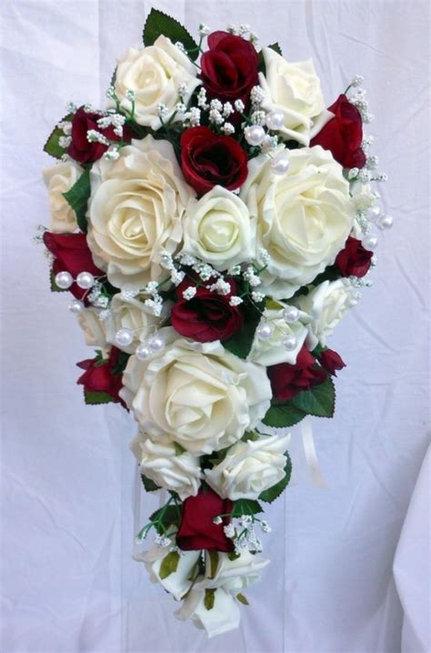 teardrop wedding bouquet ivory  burgundy roses