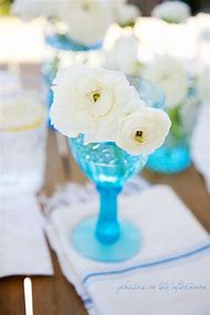 Turquoise Vase with White Flowers