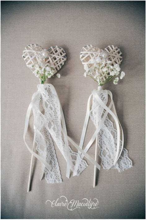 Vintage Style Wedding Flower Girl Wands Heart Shaped With