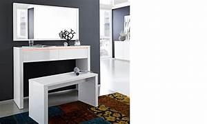 Coiffeuse Meuble Moderne : coiffeuse avec miroir laque blanc ~ Teatrodelosmanantiales.com Idées de Décoration