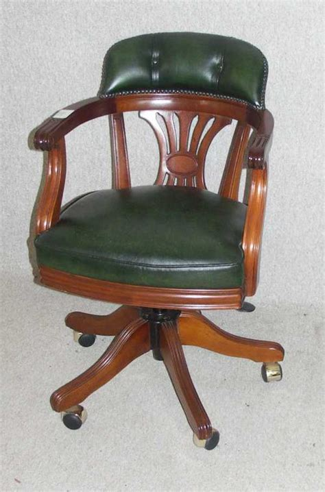 antiques atlas green leather revolving office chair