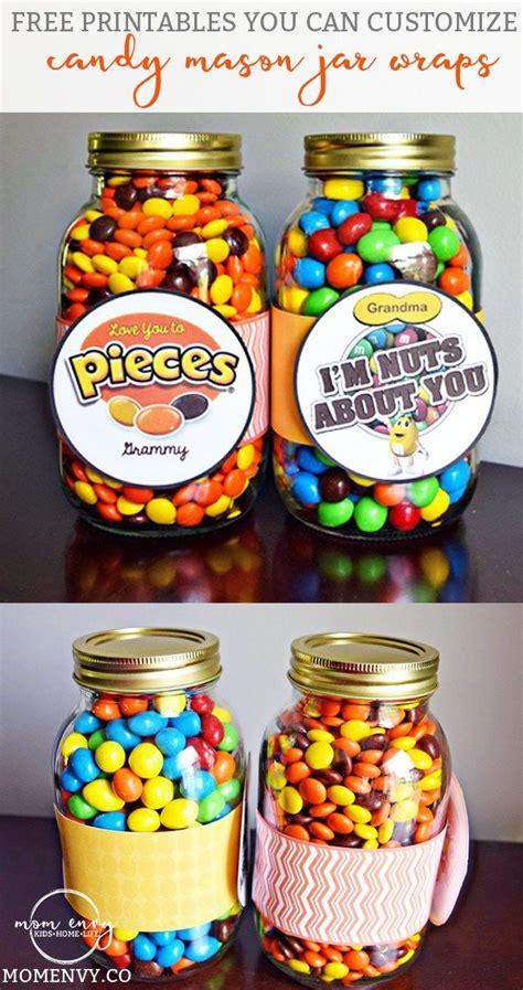 candy mason jar gifts  customizable printables