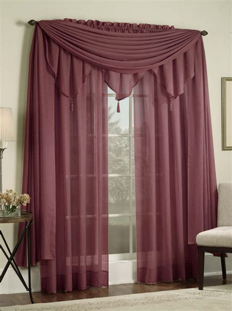 reverie semi sheer snow voile curtains burgundy lorraine