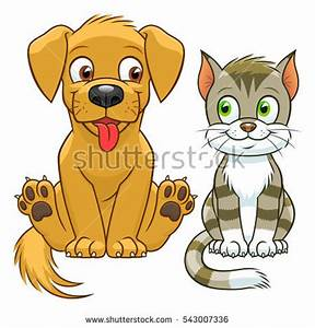 Cartoon dog house with cat clipart collection