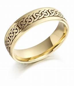 Irish Wedding Ring Mens Gold Celtic Knots Wedding Band