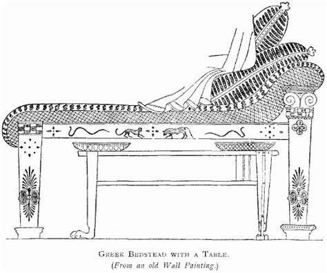 Ancient Roman Furniture History by File Greek Bedstead With A Table Jpg Wikimedia Commons