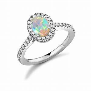 18 carat white gold opal brilliant cut diamond With opal and diamond wedding rings