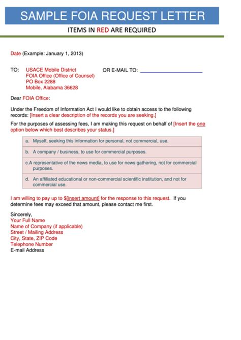 sample foia request letter template printable