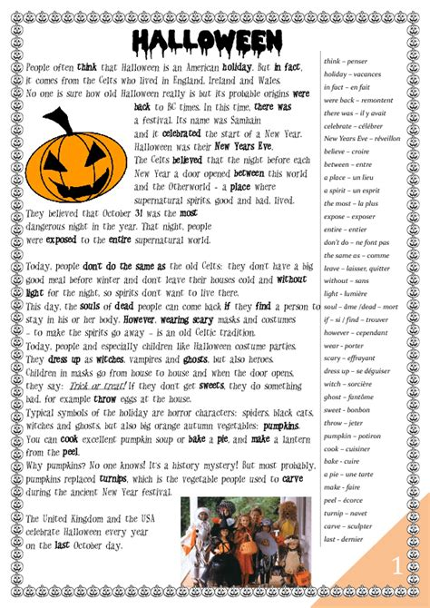 halloween worksheet history  games  french students