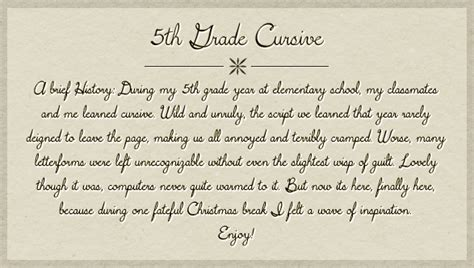 5th Grade Cursive Font Dafontcom