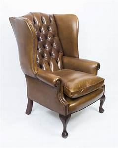 Leather, Chippendale, Wing, Back, Chair, Armchair, Yellow, Tan