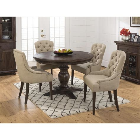 how many chairs fit around a 60 round table jofran geneva hills 5pc round dining table set with tufted