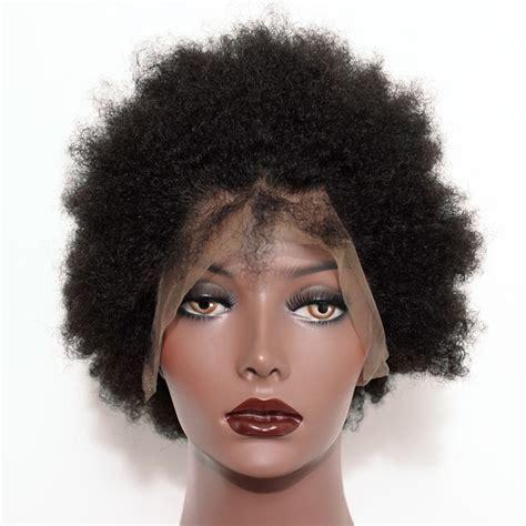 Full Lace Human Hair Wigs Short Afro Kinky Hair 100% Human