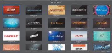 imovie trailer templates selecting a trailer genre with imovie trailers peachpit