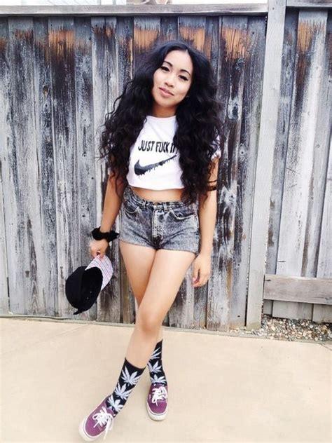 Long hair swag shorts nike just do it cute outfit cool socks vans | Girl Urban Thug Swag ...