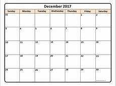 2017 December Printable Calendar » Calendar Template 2018