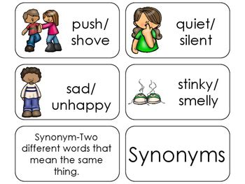 11 synonyms printable flashcards preschool 1st grade by 655 | original 2814573 2