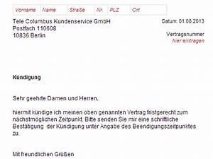 Haus Kündigung Schreiben : tele columbus k ndigung vorlage download chip ~ Lizthompson.info Haus und Dekorationen