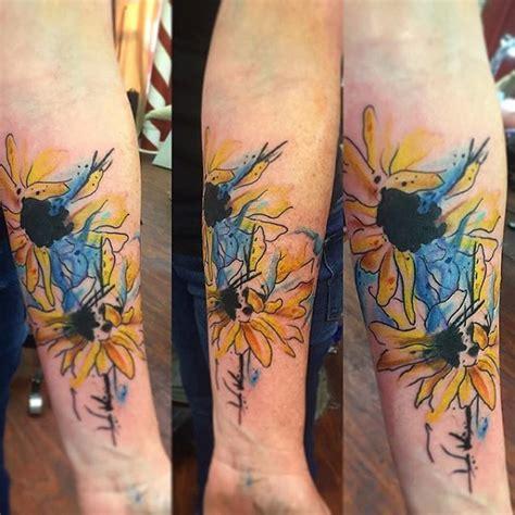 vibrant  inspirational sunflower tattoos