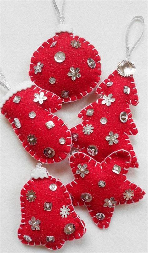 red  silver sparkle felt christmas ornaments