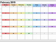 February 2019 Calendar Printable Downloadable calendar