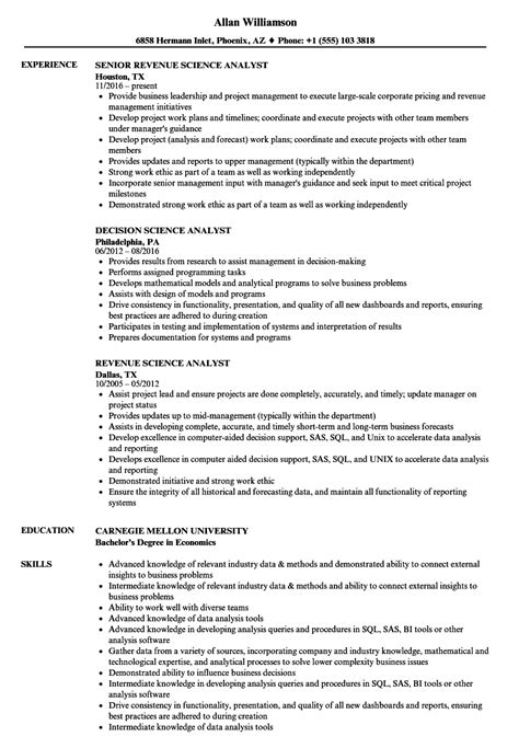 science analyst resume samples velvet jobs