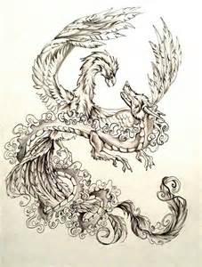 Dragon and Phoenix Tattoo Designs