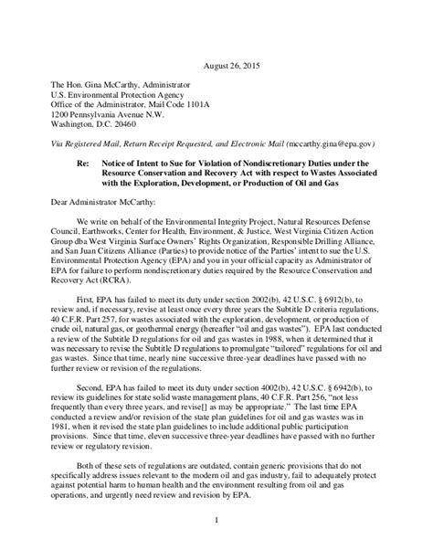Radical Enviro Groups' Notice Of Intent To Sue The Epa To
