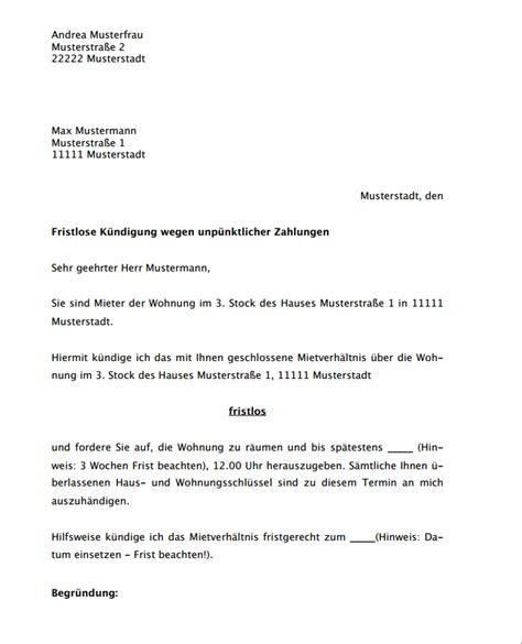Kündigung Eines Mietvertrages Durch Den Vermieter by Hier Downloaden Vermieterk 252 Ndigung Fristlos Wiederholt