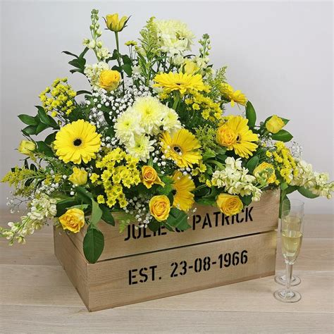 golden wedding anniversary personalised gift crate