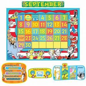 dr seuss calendar bulletin board set With bulletin board calendar template