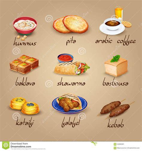 cuisine turque kebab arabische lebensmittel ikonen eingestellt vektor abbildung