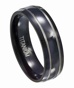 Black Titanium Wedding Ring For Men Silver Accent Bands 7mm