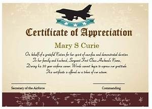 50 professional free certificate of appreciation With air force certificate of appreciation template