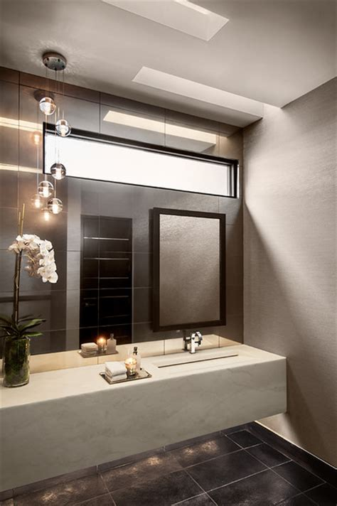 minimalist mountainside contemporary powder room
