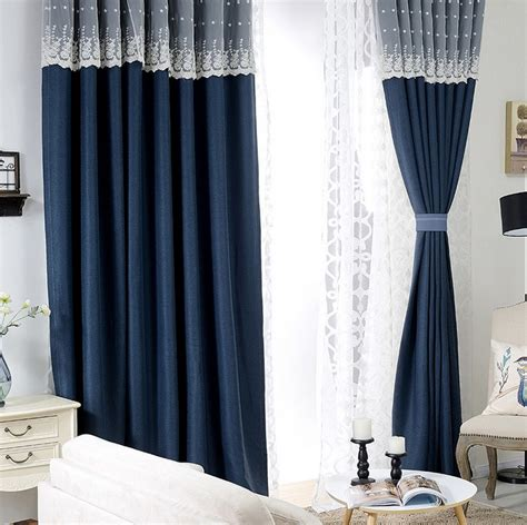 2017 custom made lace splicing navy curtains room