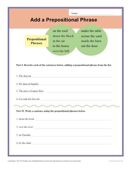 add  prepositional phrase sentence structure worksheets