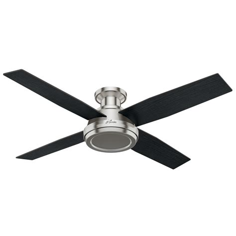 52 brushed nickel ceiling fan shop hunter dempsey 52 in brushed nickel indoor flush