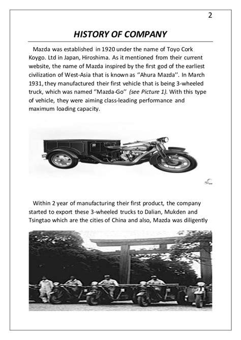 mazda motor corporation hıstory of mazda motor corporation